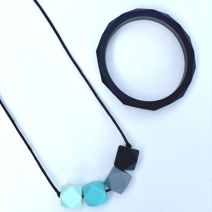 Jambu Beads Midnight Necklace Turquoise Black Bangle